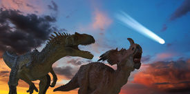 picture of comet  - Allosaurus and Styracosaurus Battle as the Comet that Spells Extinction Approaches