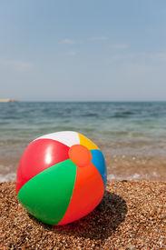 picture of beach-ball  - beach ball near the sea in landscape - JPG