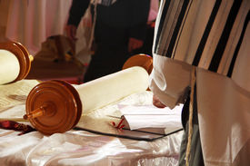 pic of torah  - Torah scrolls; is on the table; people in Talas wooden handles close up ** Note: Soft Focus at 100%, best at smaller sizes - JPG