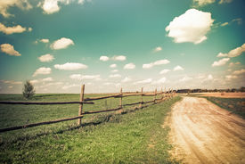 image of cloudy  - Sunny day in countryside - JPG