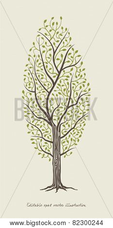 Tree vector illustration. Stylised tree icon.