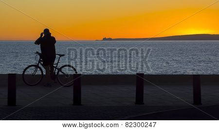 Bicyclist Sunset
