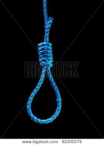 Blue noose over black background