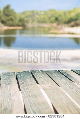 Wooden Footpath Near Swamp In Tropics.