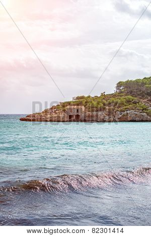 Image Of Beautiful Beach With Fishing Lodge.