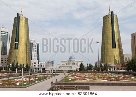 Twin Towers In Govermental District, Astana, Kazakhstan