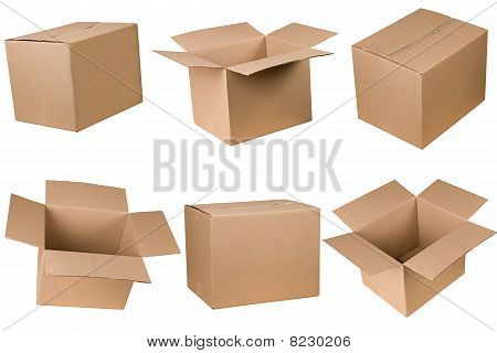 Opened And Closed Cardboard Box