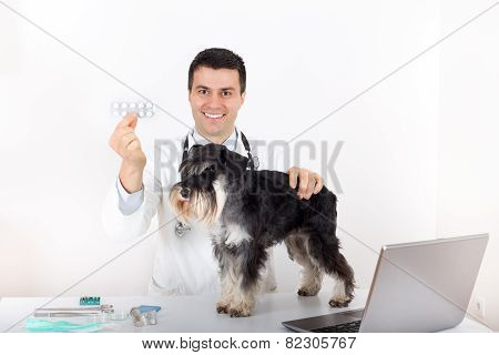 Dog And Vet With Drugs