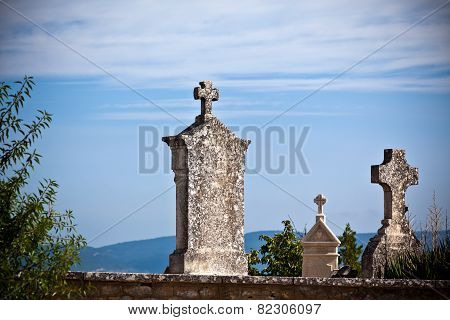 Old Tombstones At An Antique European Cemetery