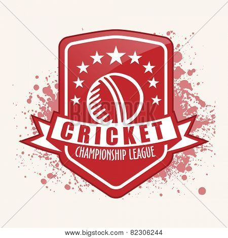 Vintage sticker, tag or label design for Cricket Championship League on grungy background.