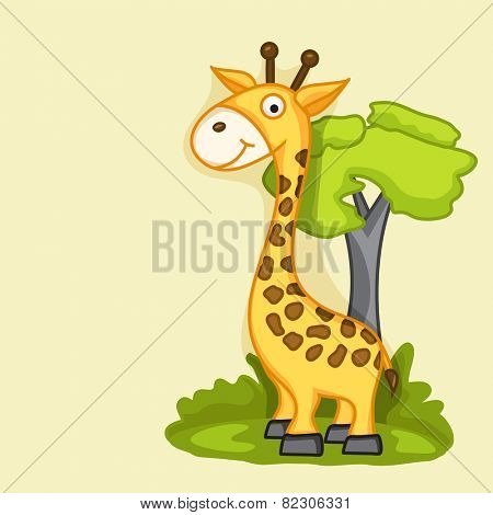 Funny cute giraffe on nature view background.