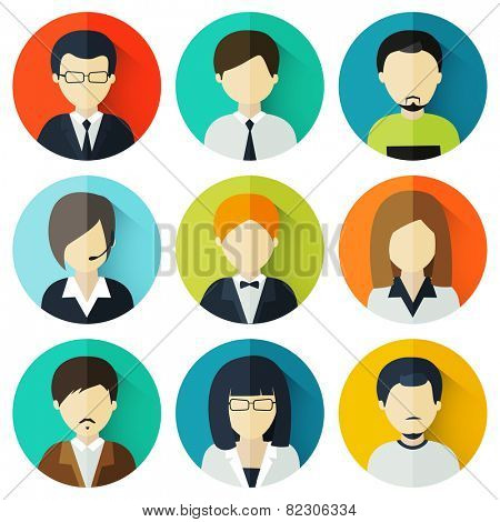 Set of nine young male and female business avatars.