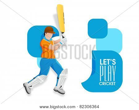 Young Cricket batsman ready to play on abstract background.