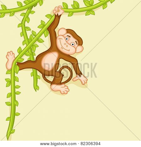 Smiling funny cute monkey hanging by vines over beige background.