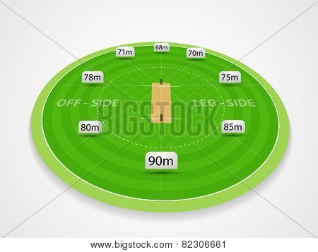 Cricket stadium with measurement statistics.