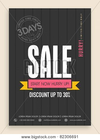 Limited time sale flyer, banner or template design with discount offer.
