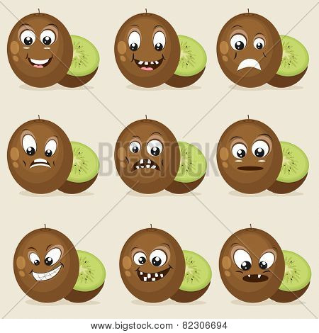 Set of different facial expressions with kiwi on beige background.