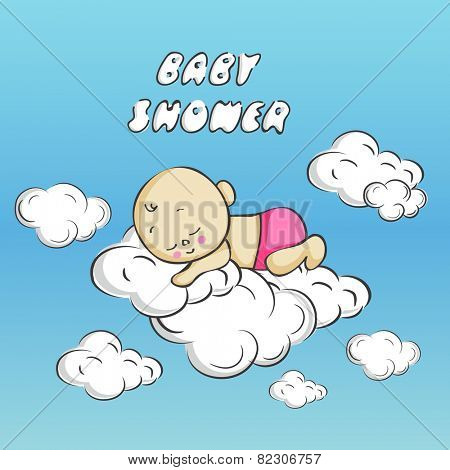 Little cute baby sleeping over clouds with stylish text of Baby Shower, can be use as greeting card or invitation card for baby shower party.