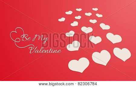 Happy Valentine's Day celebration with stylish text Be My Valentine and hearts on red background.
