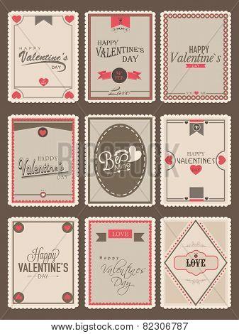 Love vintage poster stamp for Happy Valentines day celebration.