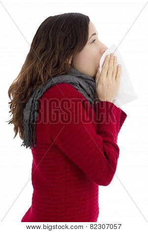 Woman With Flu Sneezing