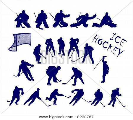 Vector silhouettes of ice hockey players