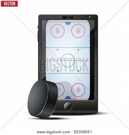Smartphone with ice hockey puck and field on the screen.
