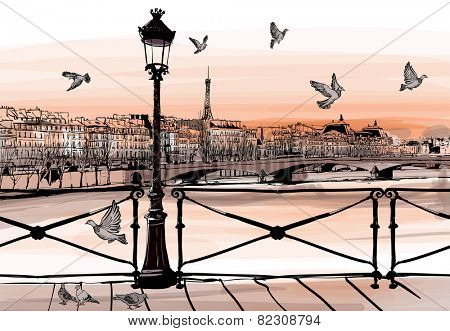 Sunset on Seine river from Pont des arts in Paris - vector illustration