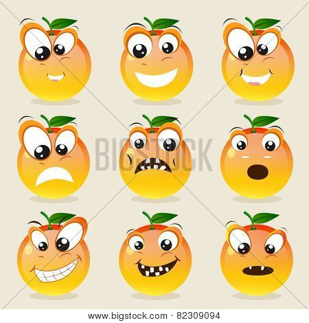 Funny character of orange showing different facial expressions on beige background.