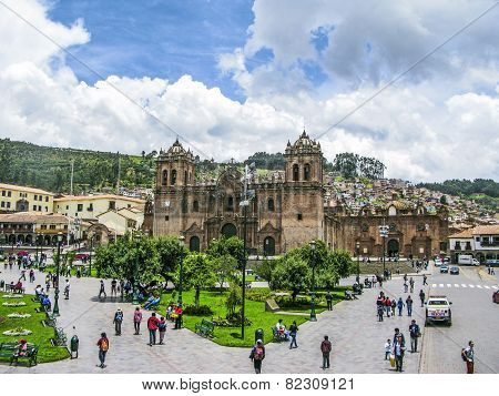 Central Square In Cuzco, Plaza De Armas. Peru.