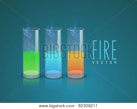 Colorful chemicals test tubes with fire flame for laboratory experiments on stylish background.