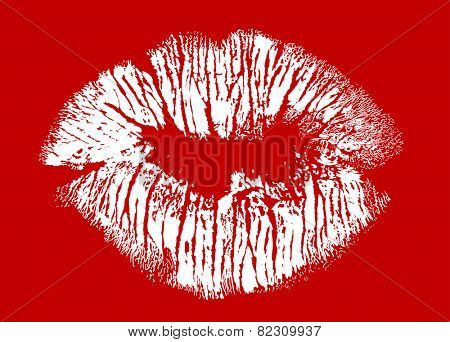 illustration with white lips imprint from dots isolated on red background