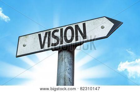 Vision sign with a beautiful day