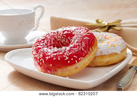 Delicious doughnut with confectioner's sugar.