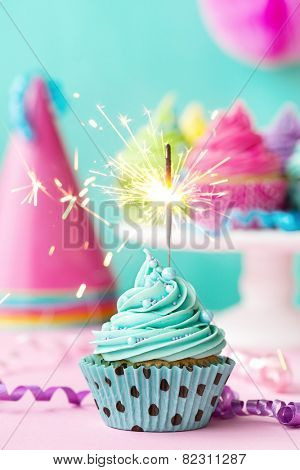 Birthday cupcake with sparkler