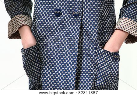 Details Of Fashion Trench Coat With Floral Prints