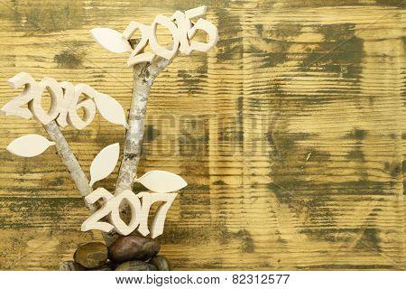 Hintergrund mit Birkenzweig mit Jahreszahlen 2015, 2016, 2017