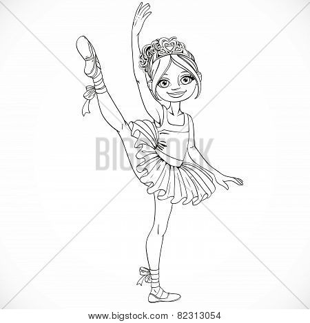 Ballerina Girl Dancing In Ballet Tutu On One Leg Outlined Isolated On A White Background