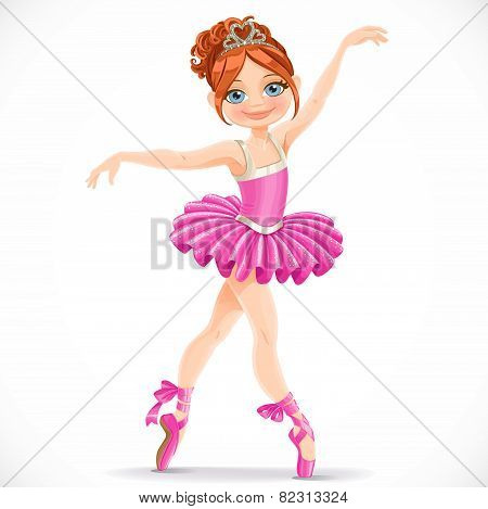 Beautiful Brunette Ballerina Girl Dancing In Pink Dress Isolated On A White Background