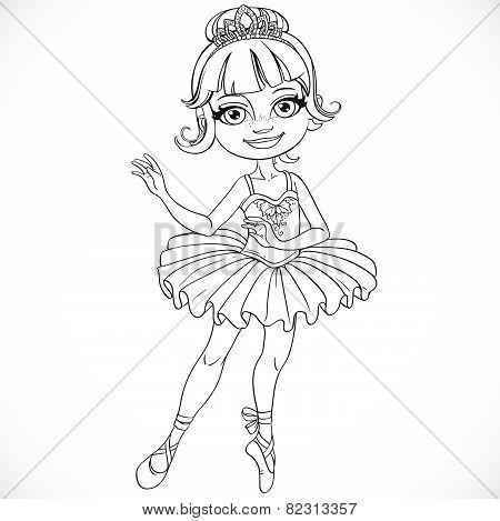 Beautiful Little Ballerina Girl Tiara Outlined