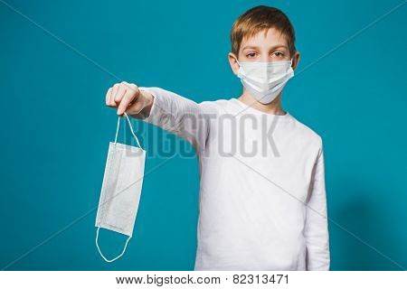 Boy Wearing Protection Mask Suggesting Mask