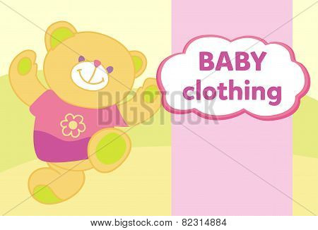 Vector banner with a teddy bear. Template for advertising childrens store