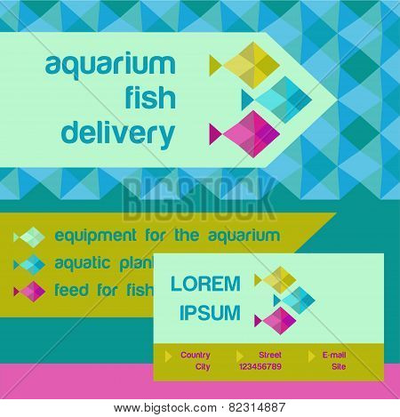 Vector logo and identification. Shop aquarium fish. Accessories and feed for aquariums.Blue geometri