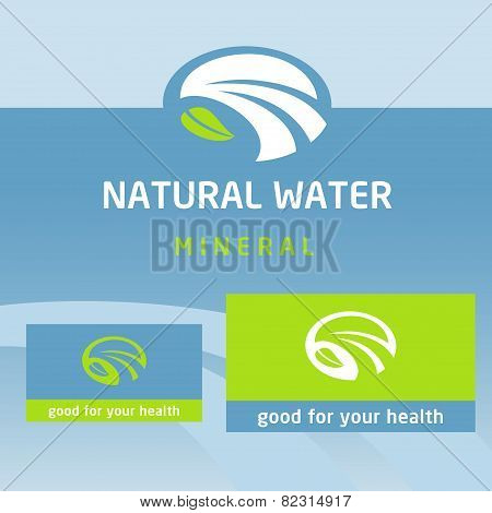 Vector logo, label natural product. Clean, eco-friendly, natural. Water, milk
