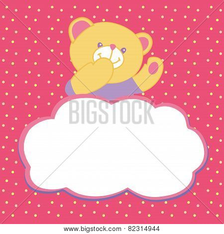Vector greeting card with teddy bear. Kiss, love, space for text