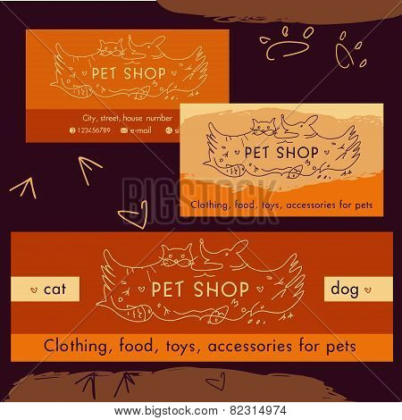 Logo, emblem store for cats and dogs. Cartoon illustration. Editable. Identification, a business car