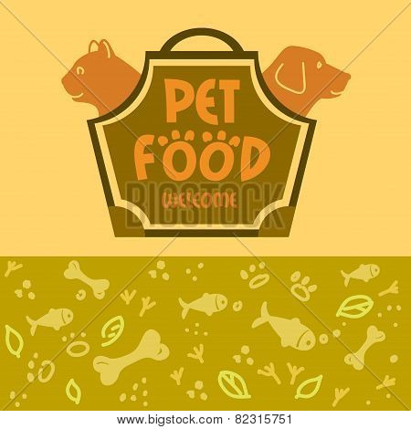 Logo with animals for pet food shop. Cat and dog. Cat and dog in the bag-carrying