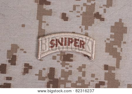 Us Army Sniper Tab On Camouflage Uniform