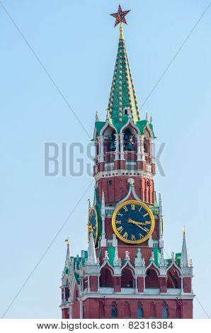 Spasskaya Frolov Tower of the Kremlin. Russia, Moscow, Red Square
