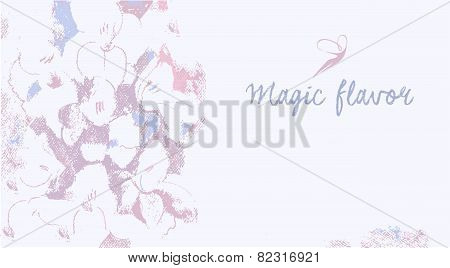 Vector background with the image of flowers in pastels. Magical flavor. Place for text. Pastel color